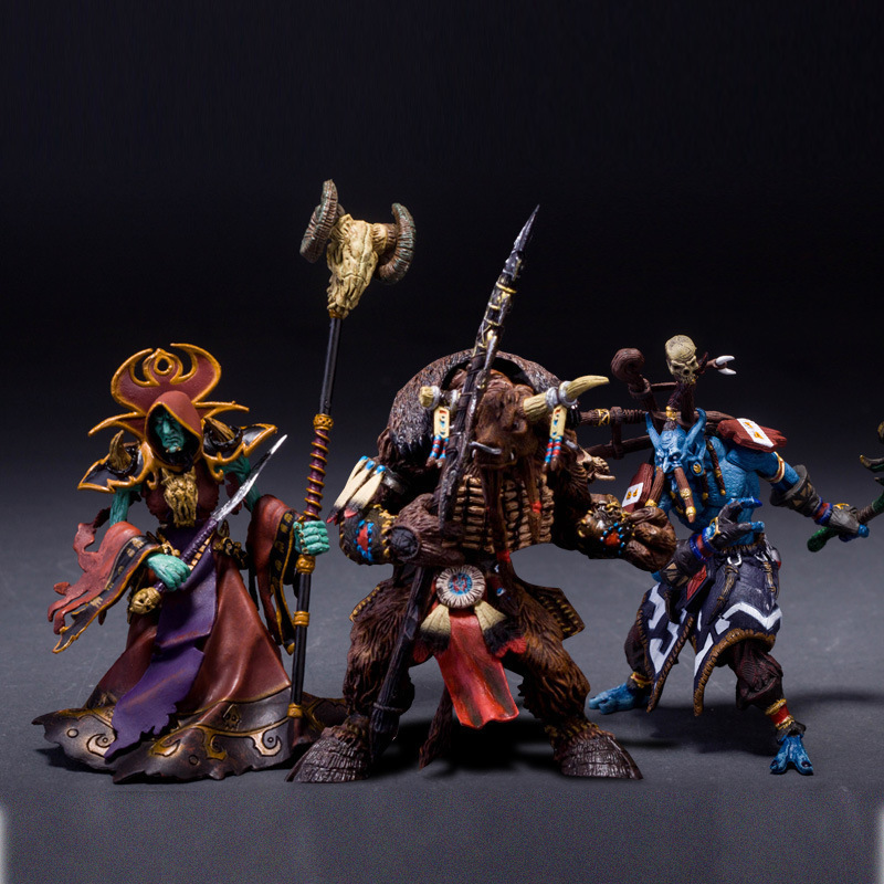 WOW Dota 2 Orcus Tauren Trolls Shamman Magician Ainme Action Figure Toys Game 12cm 3Pcs PVC Kids Collection Model Brinquedo 0326(China (Mainland))
