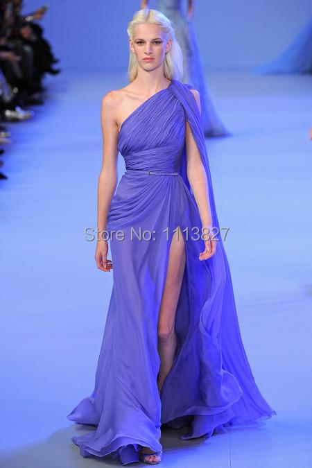 New Floor Length Slit A-Line One Shoulder Elie saab Pleated Long Chiffon Gown Vestido Longo Purple Peacock Evening Dresses 2014(China (Mainland))