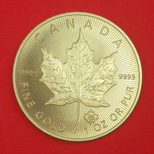 5 pcs/lot Non Magnetic Canada Elizabeth Maple Leaf Coins, 1 OZ 24K Gold Plated 2015 new (China (Mainland))