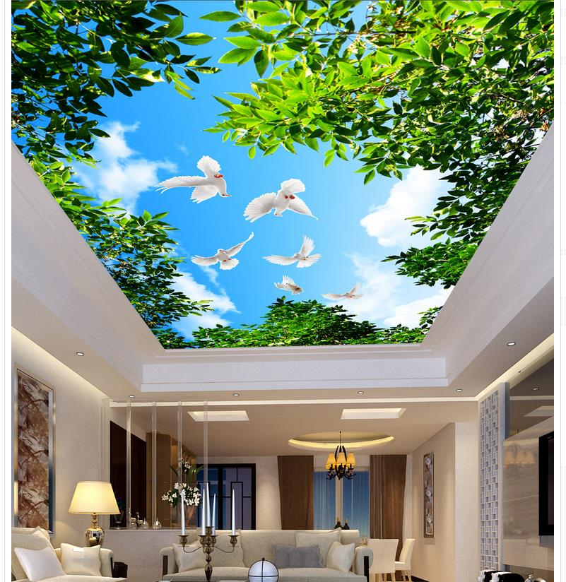 Buy tree blue sky clouds pigeons living for 3d wallpaper for home wall india