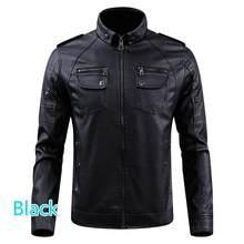 Chaqueta de cuero marrón/Negro abrigos de lana de ajuste Delgado 2019 nueva chaqueta de cuello alto Parkas grueso cálido piel sintética ropa masculina(China)