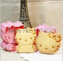 Free shipping 2PCS Hello Kitty shape mold sugar Arts set Fondant Cake tools Plastic cookie cutters kitchen accessories