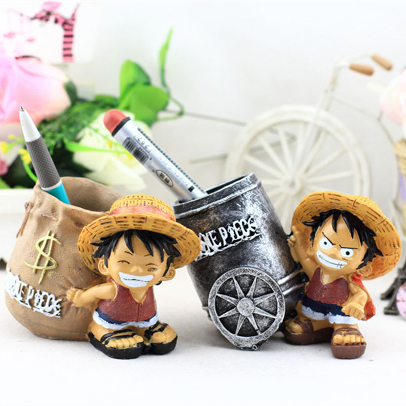 2016 New Creative Zakka Style Resin Pen Container Home Decoration One Piece Cartoon Luffy Model Tubular Penrack Resin Crafts(China (Mainland))