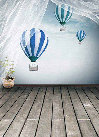200CM*150CM Hot air balloons Wood Floor Computer Painted baby mini photography background 1400(China (Mainland))
