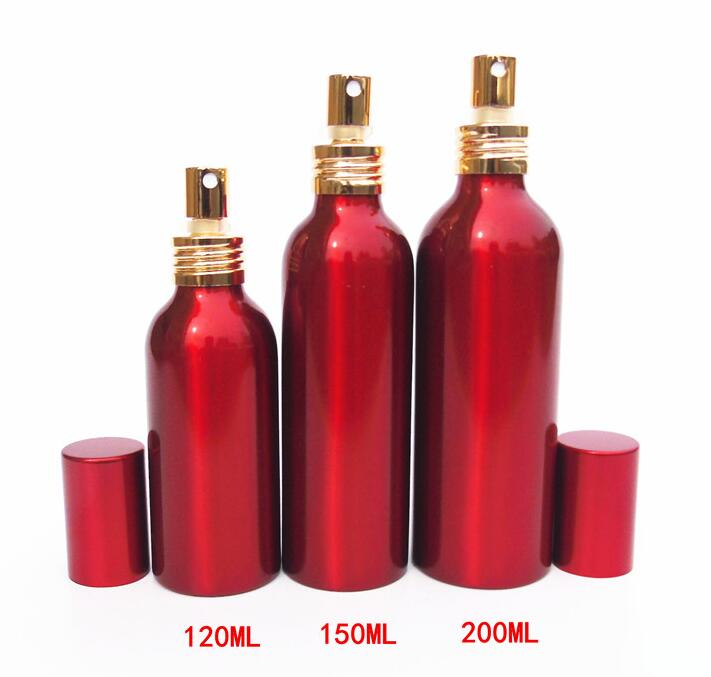 Small Large Empty Metal Spray Cap Bottles for Skin Care Cosmetic Perfume Toner Hydrating Lotion Containers Red Aluminum Bottles(China (Mainland))