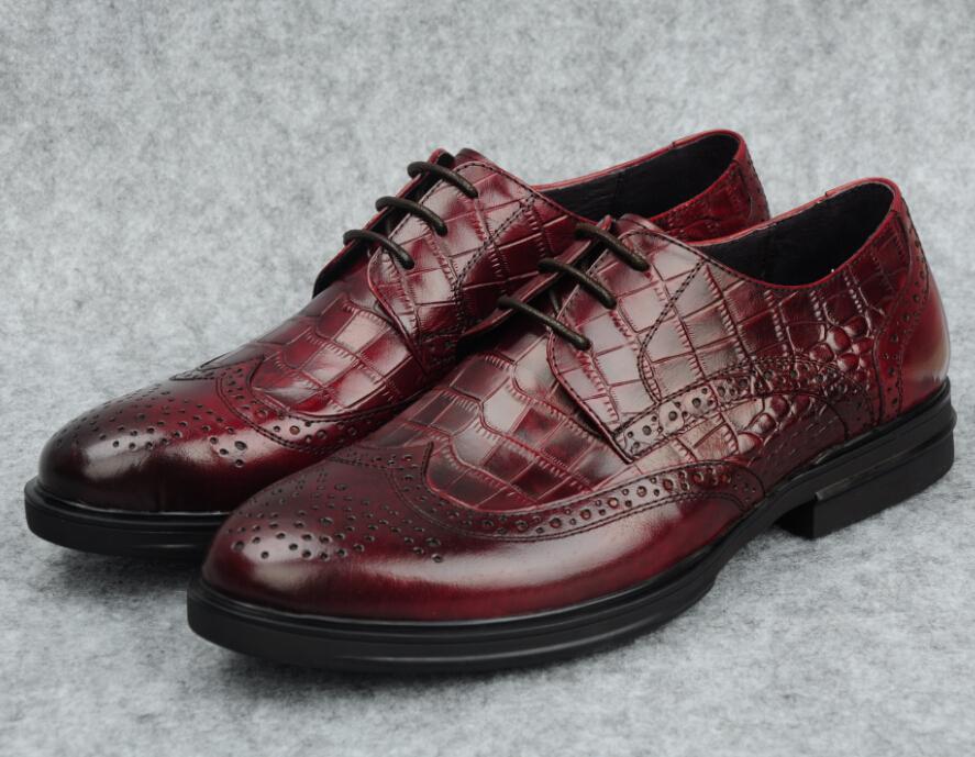 Large size EUR 45 crocodile grain Brown tan / black oxfords shoes mens business shoes genuine leather dress shoes wedding shoes(China (Mainland))