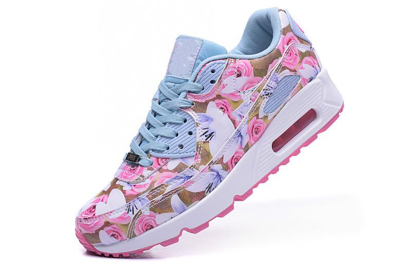 2015 free shipping Women Flower 90 Running Shoes Women Walking Shoes White Sport Sneakers Max Size 36-40(China (Mainland))