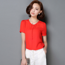 New Women Casual Basic Summer Lace Chiffon Blouse Short sleeves Top Shirt Elegant Solid OL buttons O-neck Plus Size
