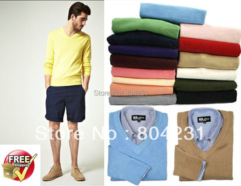 2014 men polo sweaters V neck free shipping branded casual sweater fashion designer pullovers 15 colors available