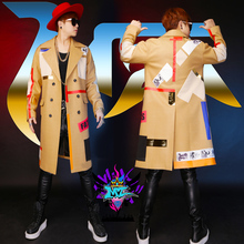 2016 New fashion NIghtclub Male Singer DJ dragon GD apricot abb cloth and colorful costumes buiter long coat performance wear(China (Mainland))