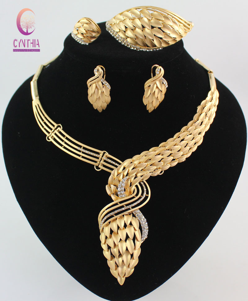 New Arrival African Costume Jewelry Sets 18K Gold Plated Crystal Wedding Women Bridal Accessories nigerian Necklace Set(China (Mainland))