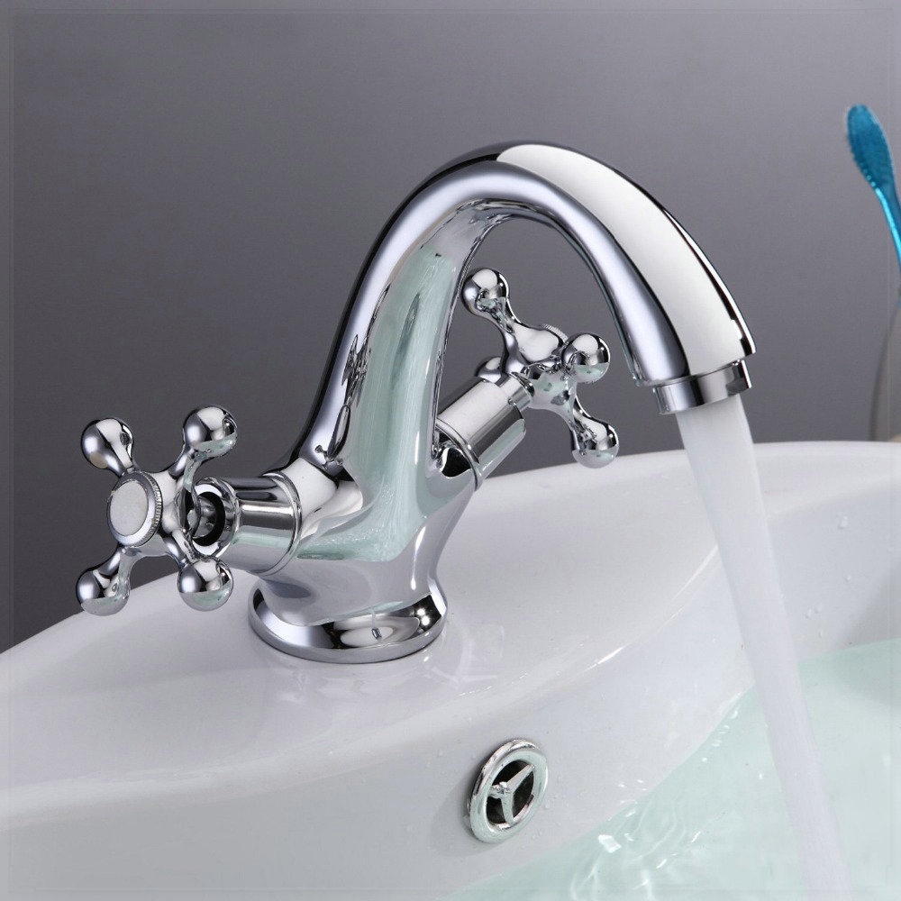 Bathroom Sink With Two Faucets : tap grifo Two Handles Centerset Chrome Bathroom Sink Faucet Tall Spout ...