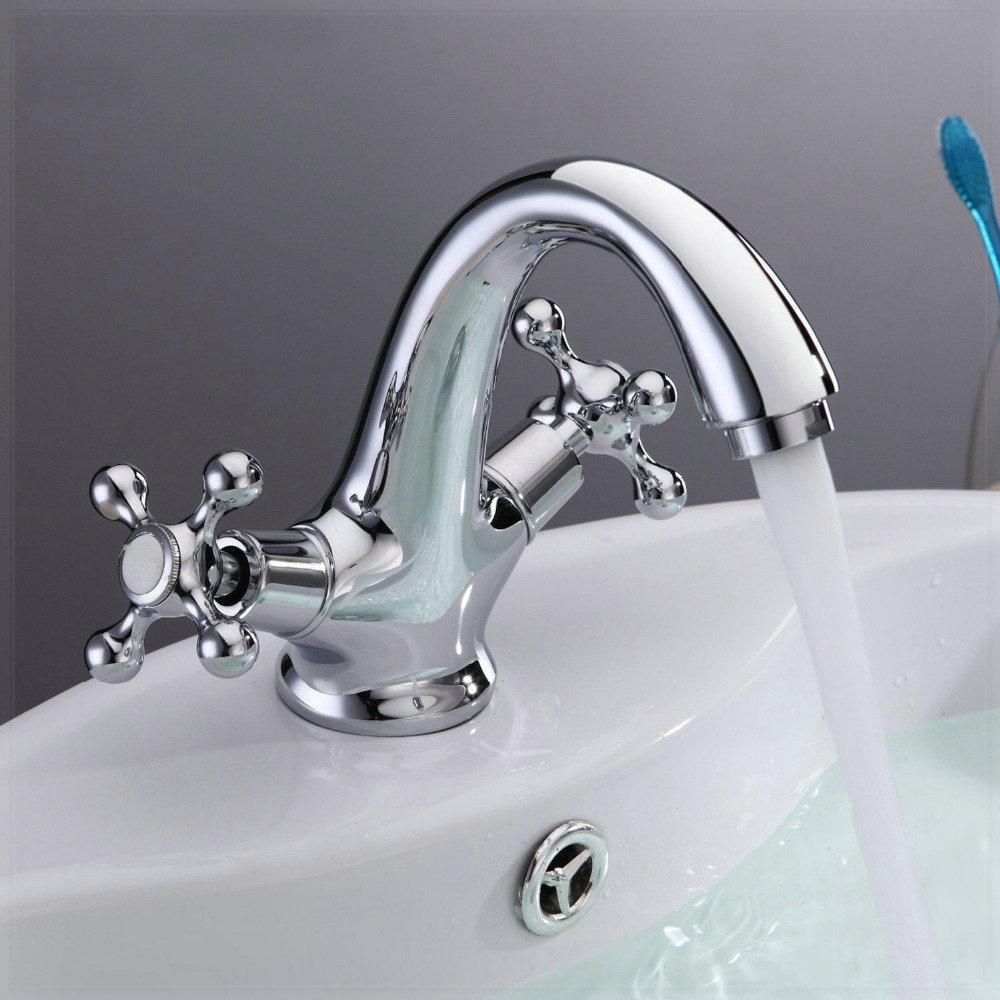 Centerset Chrome Bathroom Sink Faucet Tall Spout Kitchen Sink Faucet ...