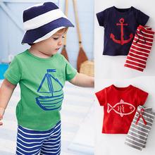 2016 детская одеждаc летние мальчики одежды комплект коротким рукавом мультфильм — + полосатые брюки мальчиков комплект одежды CF101