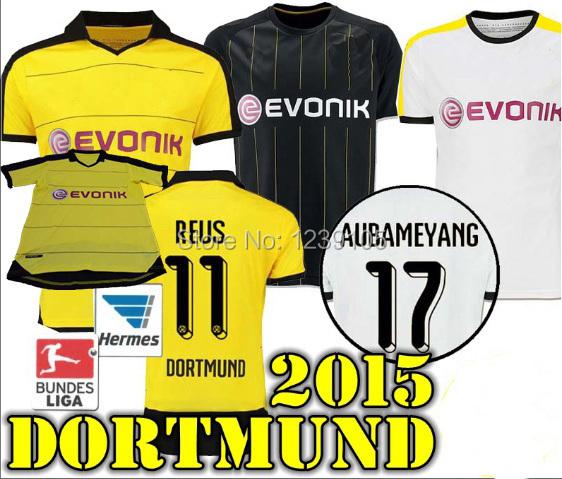 Thai Quality 15 16 Borussia Dortmund Soccer Jersey 2015 2016 BVB REUS GUNDOGAN HUMMELS AUBAMEYANG away white football shirts(China (Mainland))