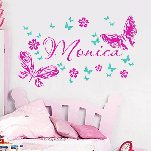 Nombre personalizado pared de la mariposa etiquetas beb for Papel pintado personalizado