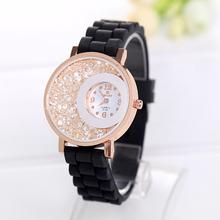 High quality 2015 New Fashion Trendy Casual Watch Moving Beads Crystal Quartz Women Dress Watch silicone ladies Wristwatch clock