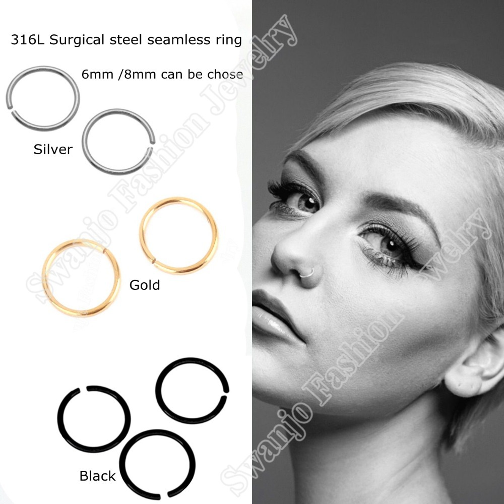 10Pcs/lot 316L Surgical Steel Nose Ring Septum Hoop Seamless Rings Silver septum Anodized Gold Black 3 colors Fake Nose Piercing(China (Mainland))