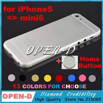 Hot!! 13 Colors Choose Back Cover Battery Cover Housing Middle Frame Metal battery door For iPhone 5 like 6 6mini housing