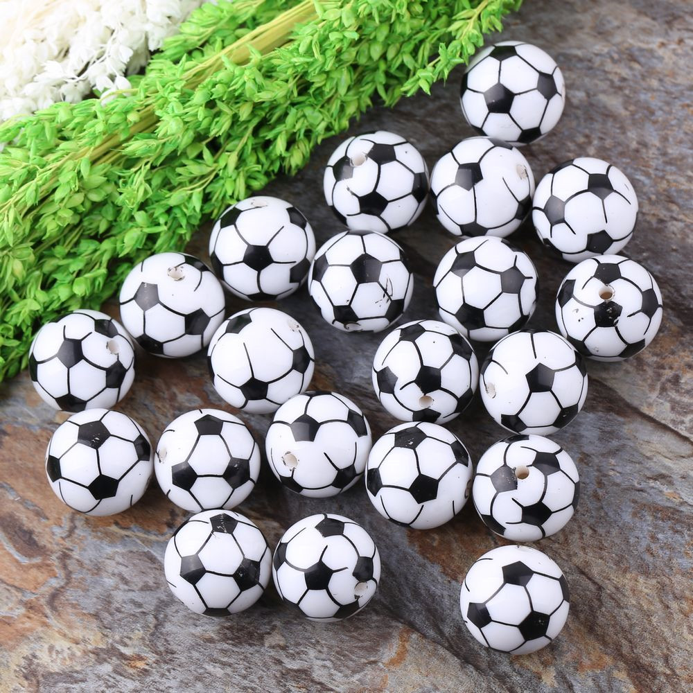 Free Shipping Round 20MM Print White Color 100Pcs Acrylic Football Beads Wholesales New Chunky Beads For Necklace Jewelry(China (Mainland))