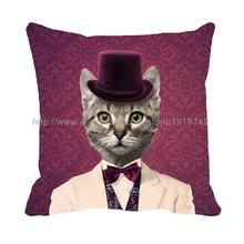 Cat wear suit with hat printed purple cushion cover pillow