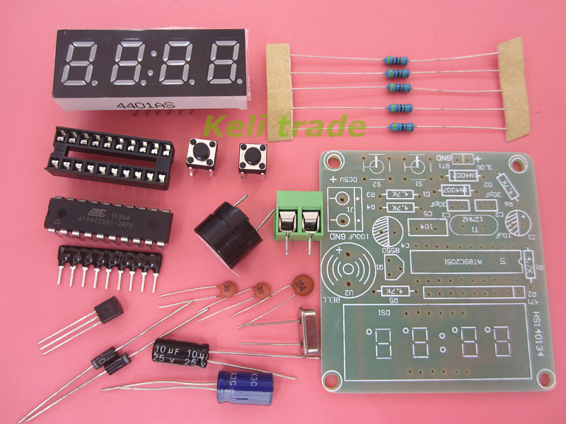 NEW High Quality C51 10set/lot 4 Bits Electronic Clock Electronic Production Suite DIY Kits for arduino Free Shipping(China (Mainland))