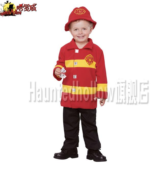 New Toddler Kids Boys Halloween fire suit Cosplay Costume fireman's outfits with hat Boys fireman coat cosplay costume(China (Mainland))