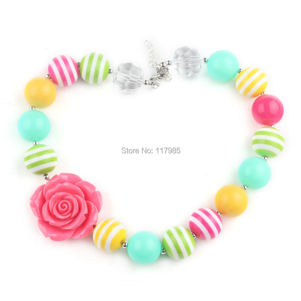 2Pcs Lovely Pastel Toddler Kids Chunky Bubblegum Necklace Baby Girl Easter Rose Flower Necklace Jewelry Party