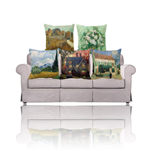 Provence/Roses/Wheat Field with Cypresses painting throw pillow covers