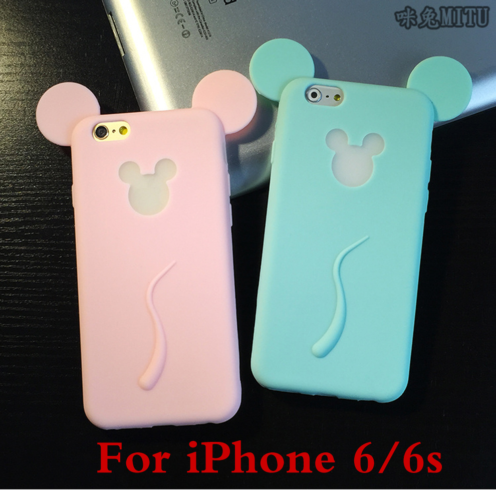Cute Mouse Cartoon Phone Cases for iPhone 6 Silicon Soft Luminous Cases Soft Anti-knock Popular Phone Cases for the Young(China (Mainland))