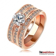 LZESHINE Brand New Design Big Promotion Engagement Knukle Rings Real 18K Rose Gold Plate 3 Layer Fashionable Wide Ring Ri-HQ1061