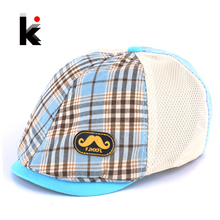 Free shopping 2016 Kids hat Summer Fashion Berets Plaid Pattern Hats For Children Boy And Girl Hat And Cap 4 Colors(China (Mainland))