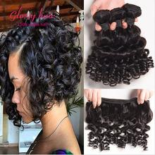 Бразильский афро кудрявый вьющиеся волосы короткие мелирование волос 3 пучки спиральный вихрь человеческих волос упругий локон странный вьющиеся дева волос(China (Mainland))
