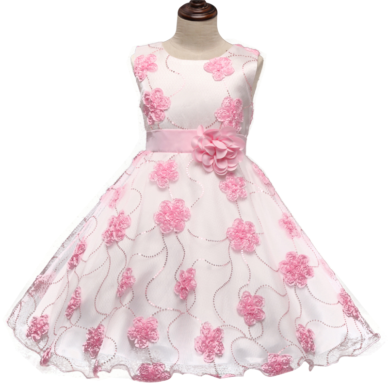 Children's Princess Girl Summer 2016 Sequins Flower Girl Ceremonious Dresses For First Communion Formal Wear Kids Baby Clothing(China (Mainland))