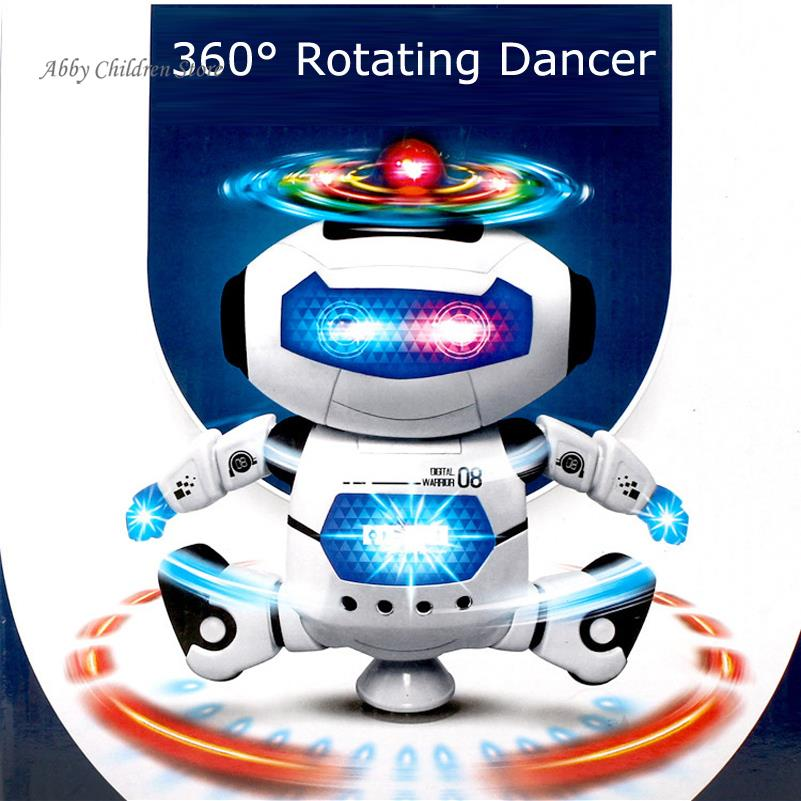 Robot Toy 360 Rotating Dancer Robot Musical Walk Lighten Electronic Toy Robot Christmas Birthday Gift Toy For Child Kid Boy(China (Mainland))
