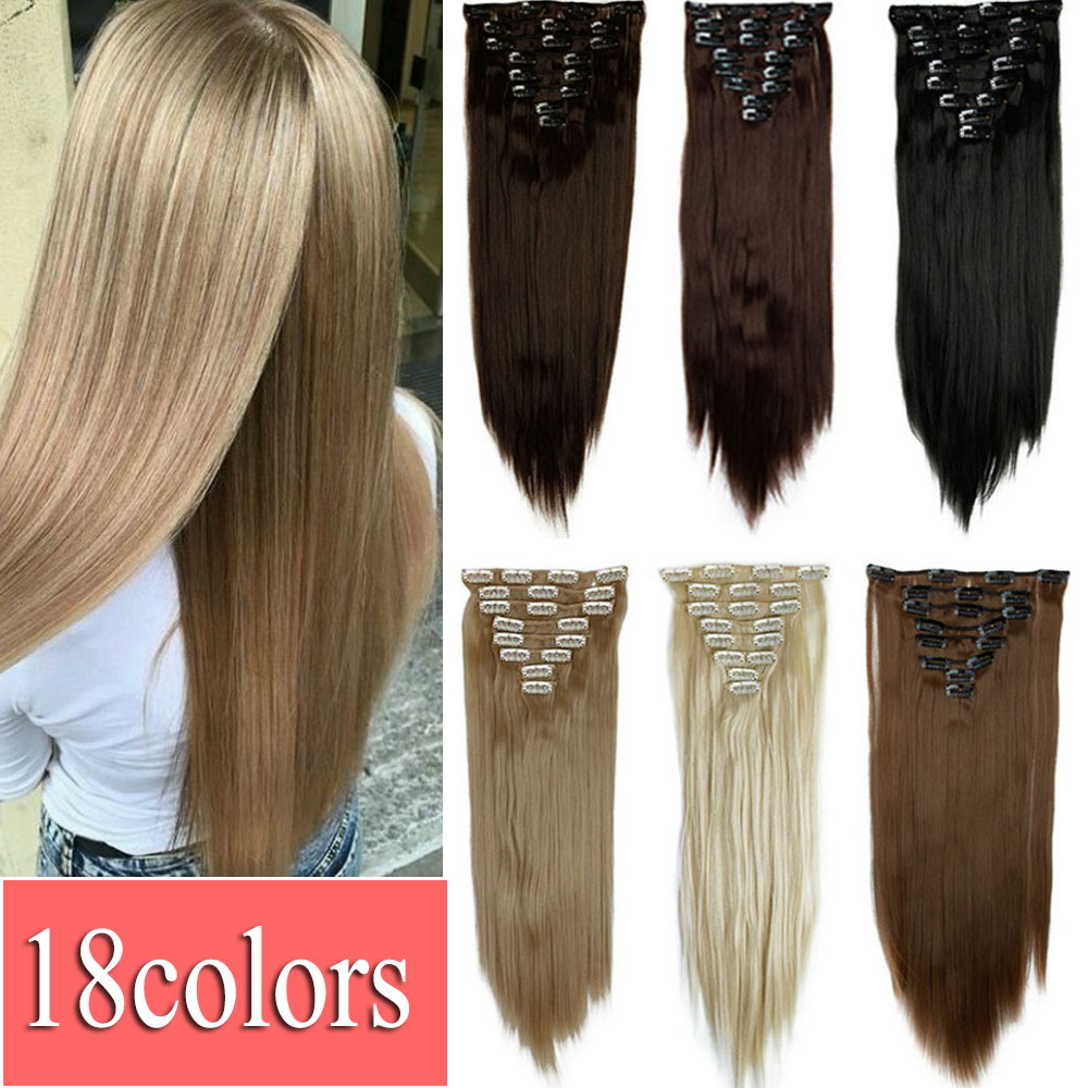 Big Discount Free Shipping 23inch 58cm Straight 18Colors Hair Extension Clip In On Hair Extension Hairpiece 170g False Hair(China (Mainland))
