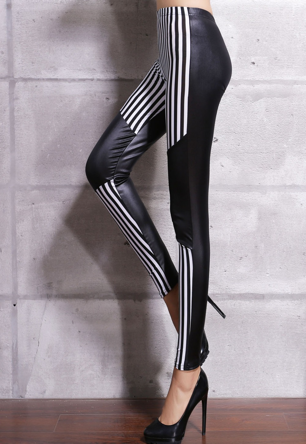 Beauty online 2015 New Fashion High Street  Women Seamless Pantyhose  Black White Stripes Patchwork Leatherette Leggings LC79763Одежда и ак�е��уары<br><br><br>Aliexpress
