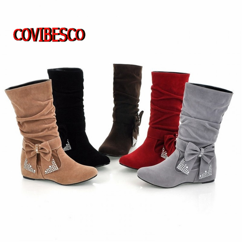Big size US 4-16 New lovely Style BIG bowtie Rhinestone Mid Calf Faux suede boots Flat women's autumn shoes female ankle - COVIBESCO Ltd's store
