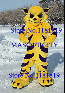 MASCOT professional adult big yellow wildcat mascot tiger bobcat costume cartoon character anime cosplay costumes fursuit - CITY store