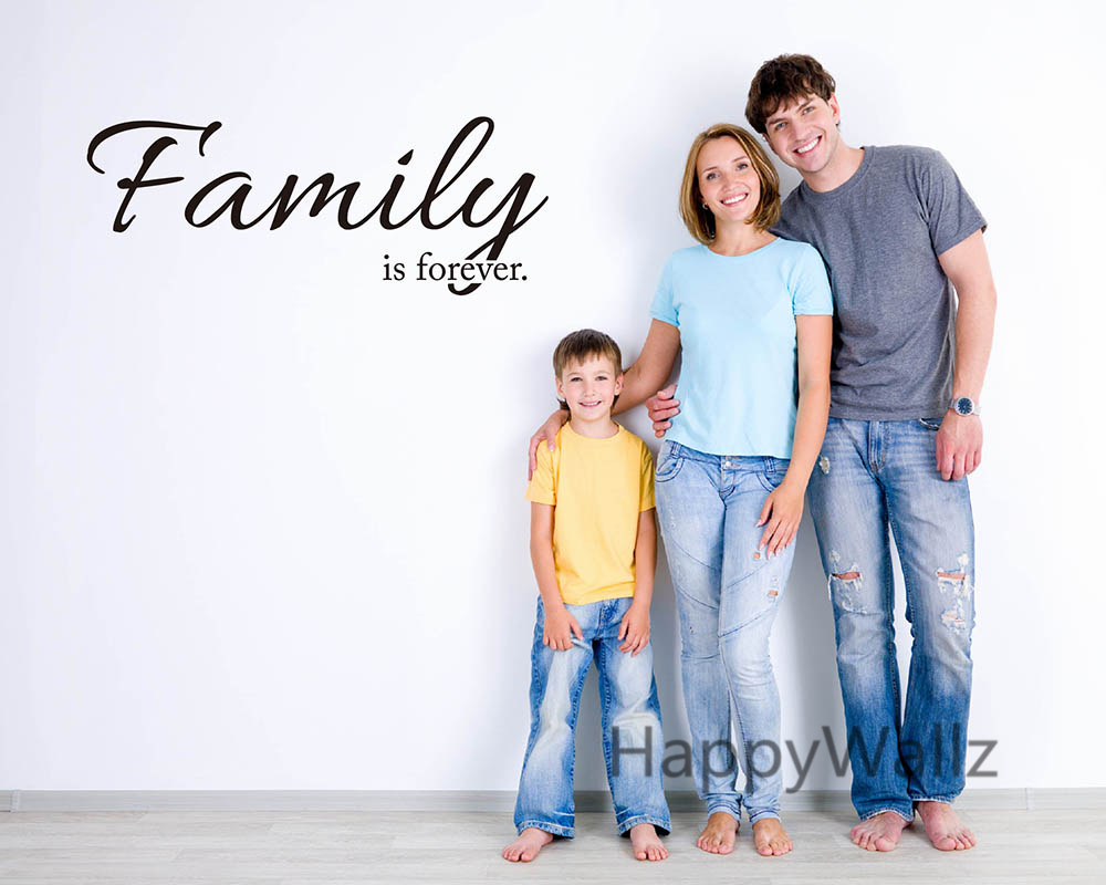 family is forever love family quote wall sticker decorating diy family forever lettering quote. Black Bedroom Furniture Sets. Home Design Ideas