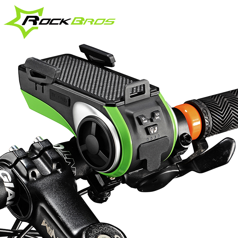 Rockbros MTB Road Handlebar Chargeable Phone Holder MP3/USB Cable/Bluetooth Audio Player+4400MAH Power Bank+LED Light+Bike Bell<br><br>Aliexpress