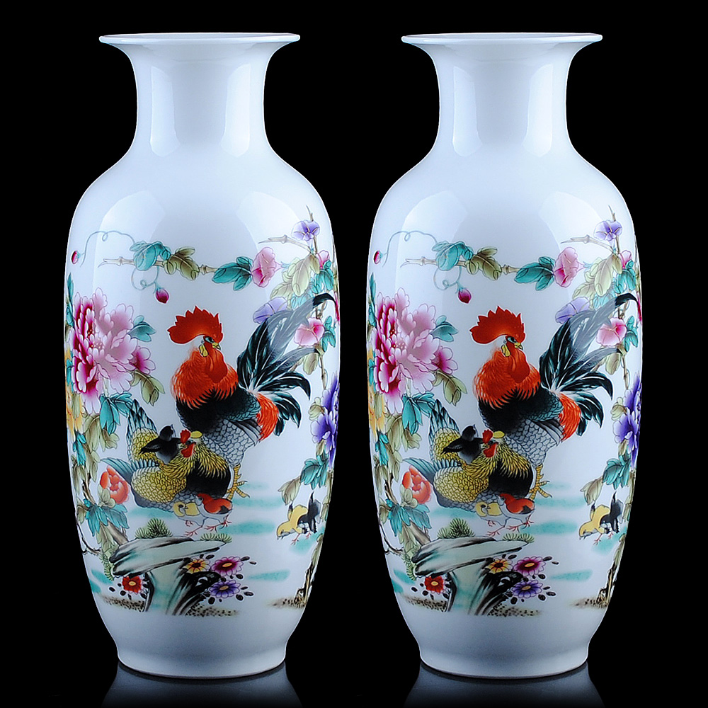 Jingdezhen ceramics pastel Rooster family portrait vase style living room decoration Home Furnishing bottle gourd