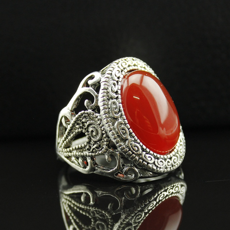 Women Rings for Wedding New Arrivals Oval Red Crystal Antique Silver Plated Best Price Professional Ring Suppliers Fine Jewelry(China (Mainland))