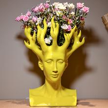 2016 new design creative handmade resin human head flower vase modern home decoration ornaments unique shape colorful flower pot(China (Mainland))