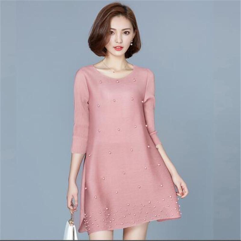 Large size Chiffon Dress Women Autumn Dress Half sleeve Nail bead Open fork Short Dress European New Style Loose Dress G2653(China (Mainland))