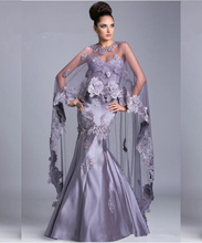 Vintage Style Light Purple Mermaid Mother Of the Bride Dresses With Wrap Floor Length Backless Mermaid Mother Evening Gowns(China (Mainland))