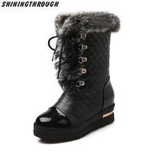 2016 Nuevas mujeres de la Plataforma Botines Con Cordones de Las Mujeres Cargadores de Las Señoras de invierno Botas de nieve caliente Zapatos de mujer(China (Mainland))