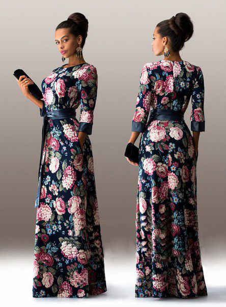 2016 New Fashion Winter Print Maxi Dress Women Casual Elegant High Quality Floral Long Dresses With Belt Plus Size