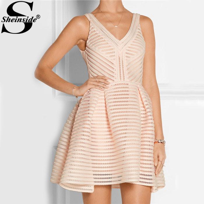Sheinside 2015 Cute Party Dresses Vestidos Feminina Novelty Style Pink Sleeveless V Neck V Back Zipper Hollow Flare Mini Dress(China (Mainland))