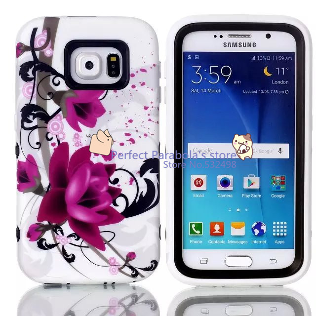 5pcs/lot Three-in-one Soft Silicon Phones case Lotus Cases For Samsung Galaxy S6 Cover Back Case Skin(China (Mainland))
